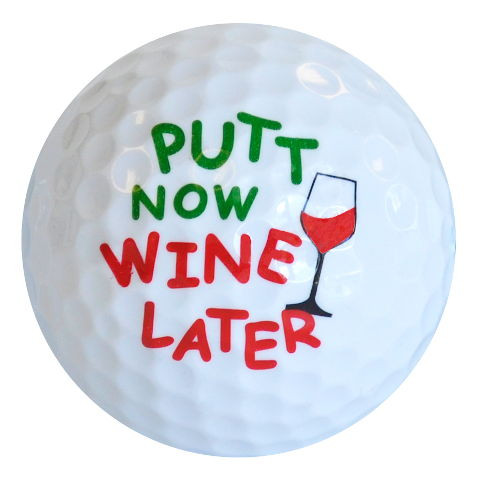 "Designer-Golfbälle 3er Pack ""Putt Now Wine Later"""