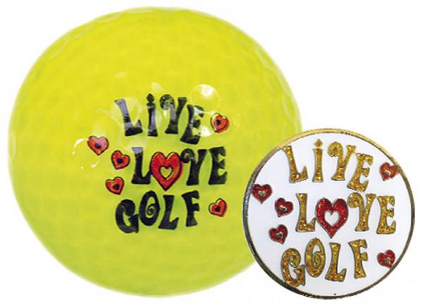 "Navika Geschenkset Golfball und Marker ""Live Love Golf gelb"""