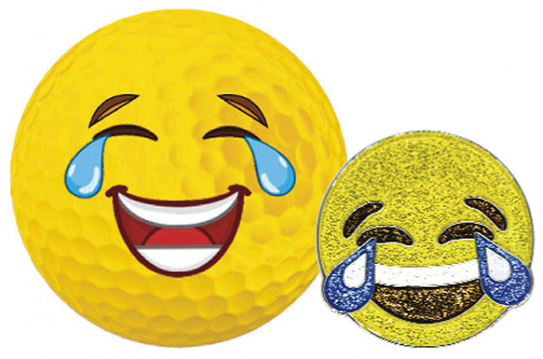 """Navika Geschenkset Golfball und Marker """"Emoji Lachen"""""""