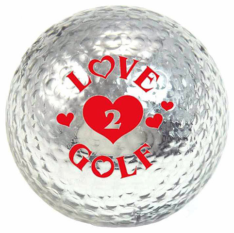 "Metallic Bling 3er Pack Golfbälle ""Love2Golf silber"""