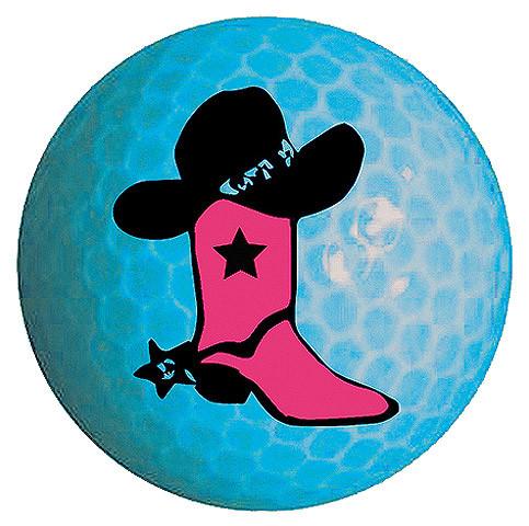 "Designer-Golfbälle 3er Pack ""Cowgirl neon-blau"""