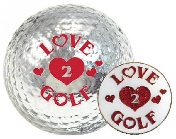 """Navika Geschenkset Golfball und Marker """"Love2Golf"""""""