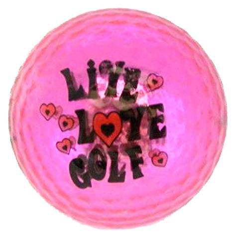 "Metallic Bling 3er Pack Golfbälle ""Live Love Golf pink"""