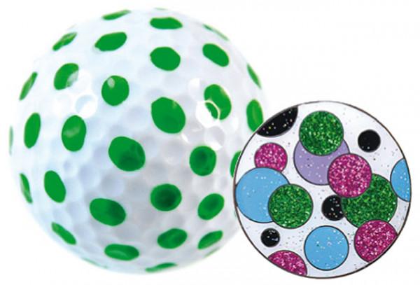 """Navika Geschenkset Golfball und Marker """"Polka Dot grün"""""""