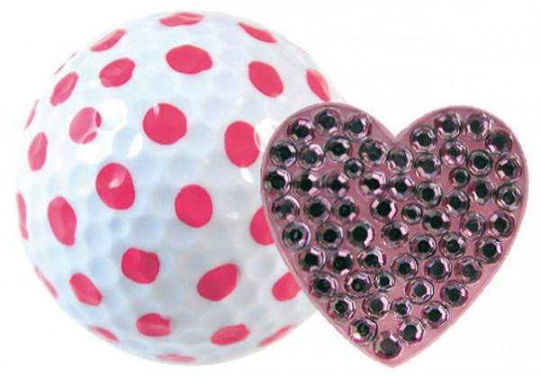 """Navika Geschenkset Golfball und Marker """"Heart pink"""""""