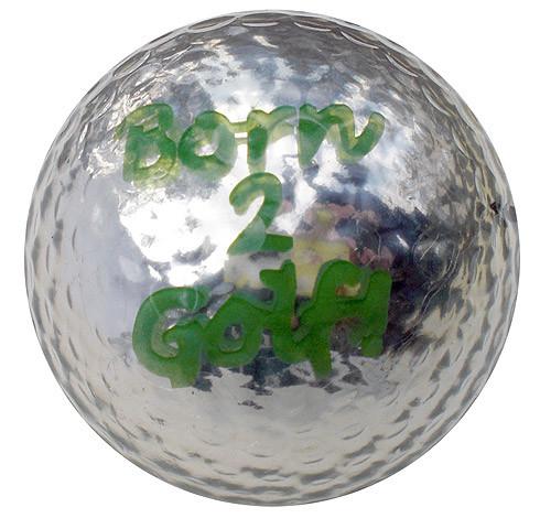 "Metallic Bling 3er Pack Golfbälle ""Born2Golf silber"""