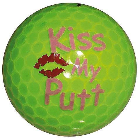 """Designer-Golfbälle 3er Pack """"Kiss my Putt neon gelb"""""""