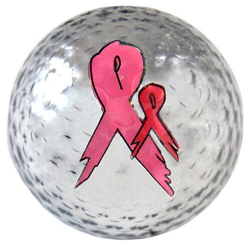 """Metallic Bling 3er Pack Golfbälle """"Pink Ribbon silber"""""""