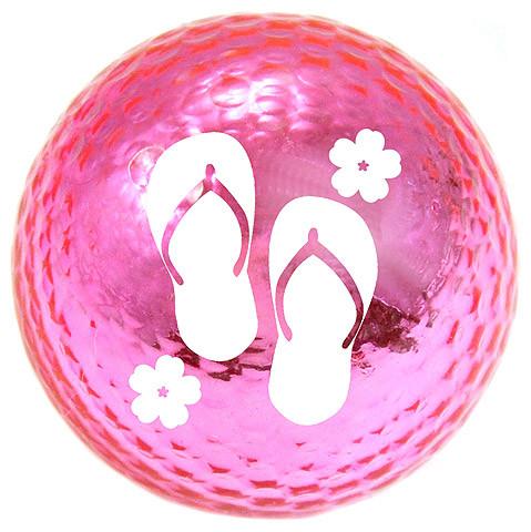 "Metallic Bling 3er Pack Golfbälle ""Flip Flop pink"""