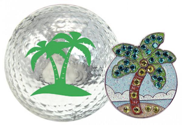 """Navika Geschenkset Golfball und Marker """"Palm Tree silber"""""""