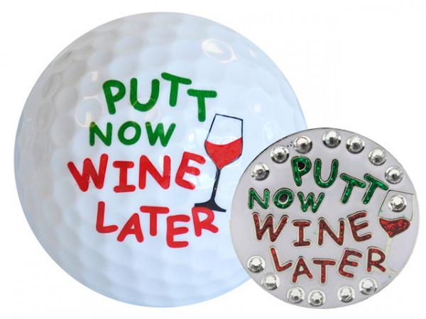 "Navika Geschenkset Golfball und Marker ""Putt Now Wine Later"""