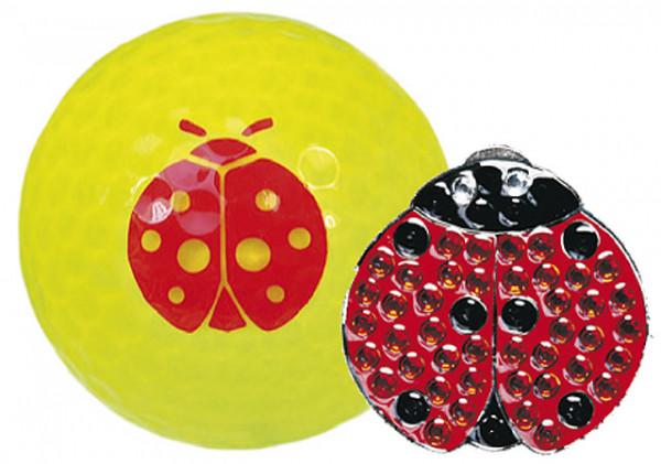 """Navika Geschenkset Golfball und Marker """"Ladybug"""""""