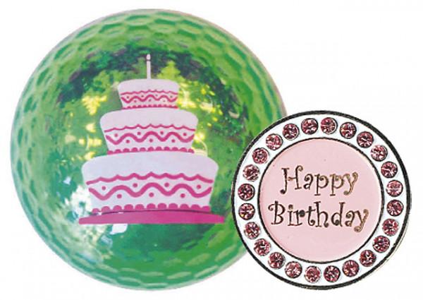 """Navika Geschenkset Golfball und Marker """"Happy Birthday"""""""