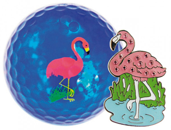 "Navika Geschenkset Golfball und Marker ""Flamingo"""