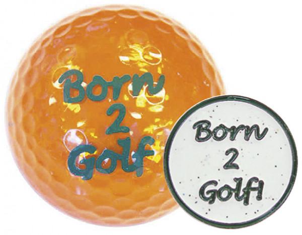 """Navika Geschenkset Golfball und Marker """"Born2Golf orange"""""""