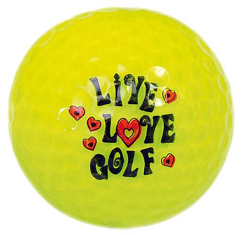 "Designer-Golfbälle 3er Pack ""Live Love Golf neon-gelb"""
