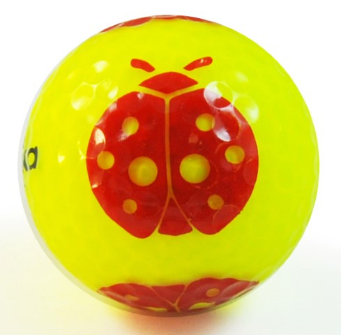 "Designer-Golfbälle 3er Pack ""Ladybug neon-gelb"""